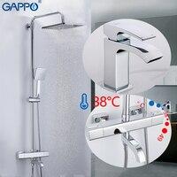 GAPPO Badewanne Armaturen bad thermostat dusche badewanne wasserhahn bad dusche mixer chrome becken wasserhahn dusche kopf set system