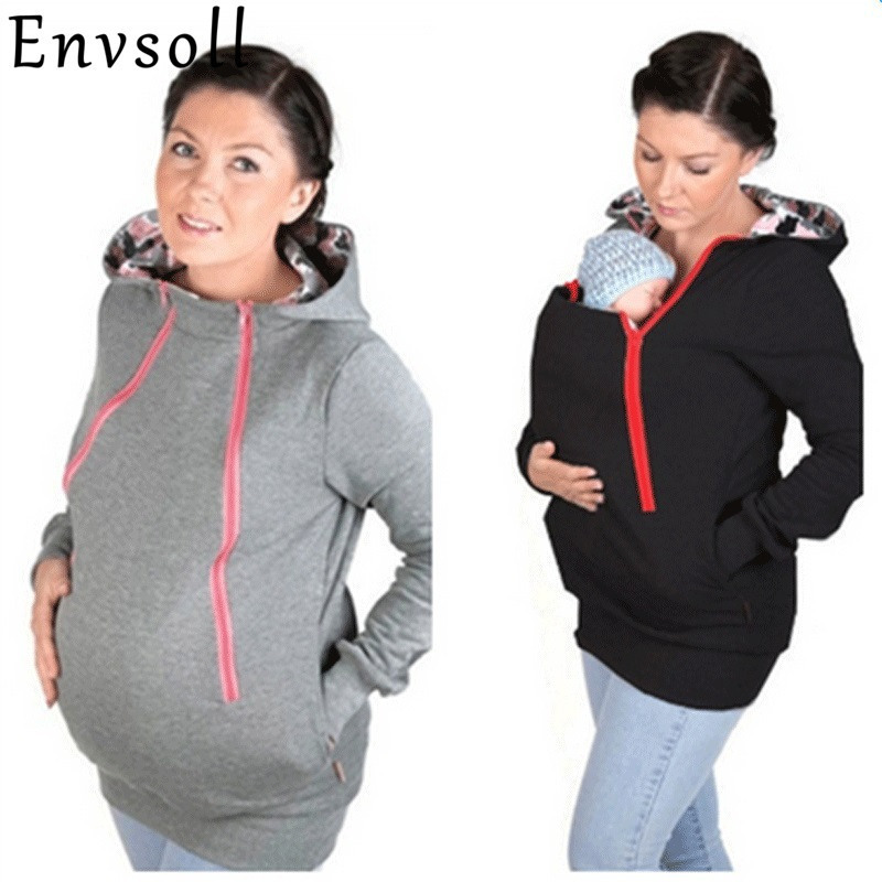 Envsoll Parenting Baby Carrier Hooded Sweatshirt Autumn Winter Mother Kangaroo Hoodie Women Pullovers Clothes For Pregnant Women kangaroo pocket drop shoulder color block sweatshirt