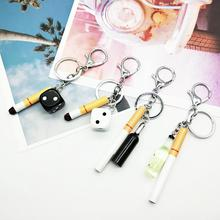 Simulation cigarette dice Key Ring accessories personality key chain bag pendant men and women trend car Keychains ornament dice pattern car key chain