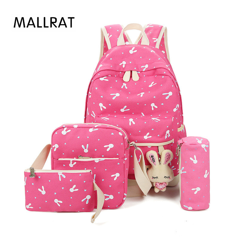 MALLRAT Rabbit Teenage Backpacks Backpack for Girls Mochilas Infantil Children Bag Anamal School Bags 5 Pcs/Set Pencil Holder 2s 7 4v 2 5a li ion battery protection board bms pcm for 18650 lithium polymer ion li battery protect module