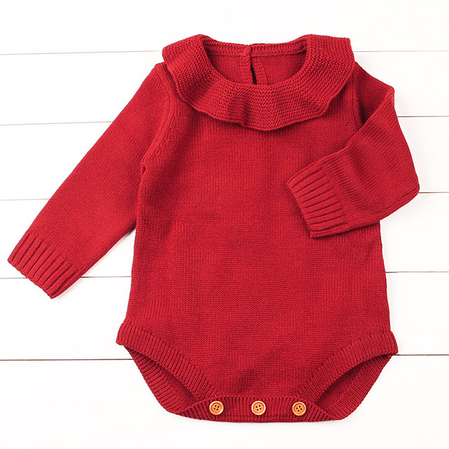09e239a92 Peter pan Collar Solid Knitted Romper Newborn Infant Baby Boy Girl Weave  Long Sleeve Rompers Jumpsuit Outfits Clothes