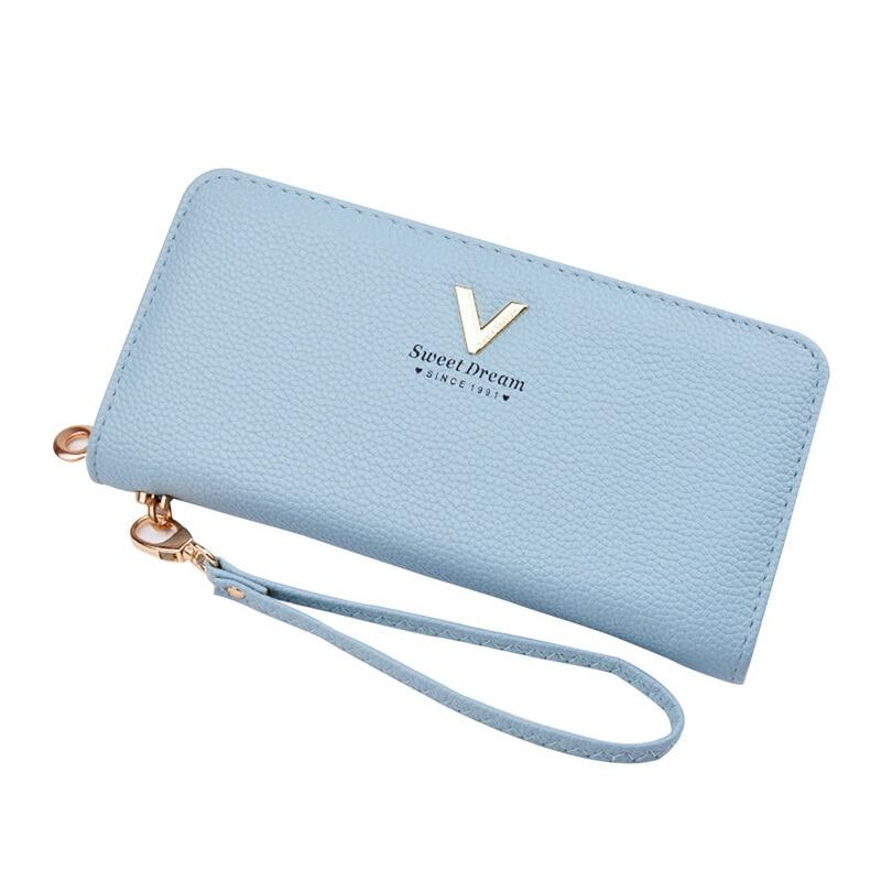 Laamei 2018 Women Solid Long Purse PU Leather Wallet Lady Handbag With Wrist Strap Phone Holder Clutch Bag 21cm*10.5cm*2.5cm Hot