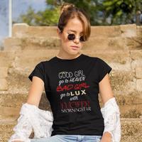Lucifer футболка Go To Lux с Люцифером футболка с коротким рукавом плюс размер женская футболка белая Новая модная повседневная женская футболка