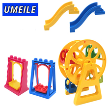UMEILE Brnad Amusement Park Large Building Blocks Swing Ferris Wheel Slide Assemble Brick Toys Brinquedos Compatible with Duplo