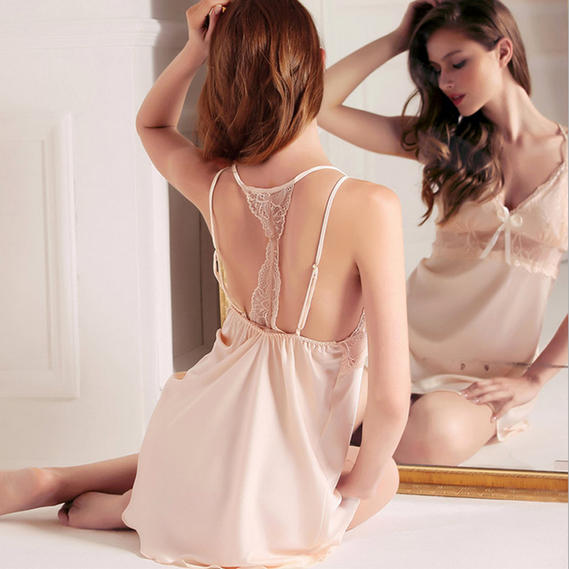Women Sexy Silk Satin   Sleepshirt   Lace Nightdress Backless   Nightgown   V-neck Home Dress Sleeveless Nighties Summer Sleep Dress
