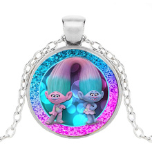 Fashion Trolls Poppy Branch Pendent Set Dreamworks Movie Action Figures Toys Chain Necklace with Glass Toy for Girls Gift HZ1