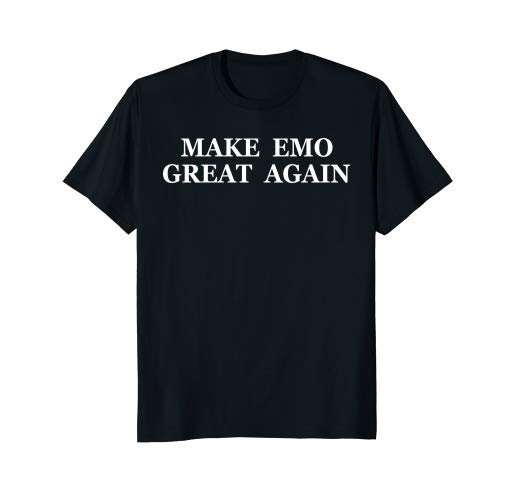 PDUO HJN Make Emo Great Again Unisex Grunge Style Black Tee 90s Vintage Edgy Shirt(China)