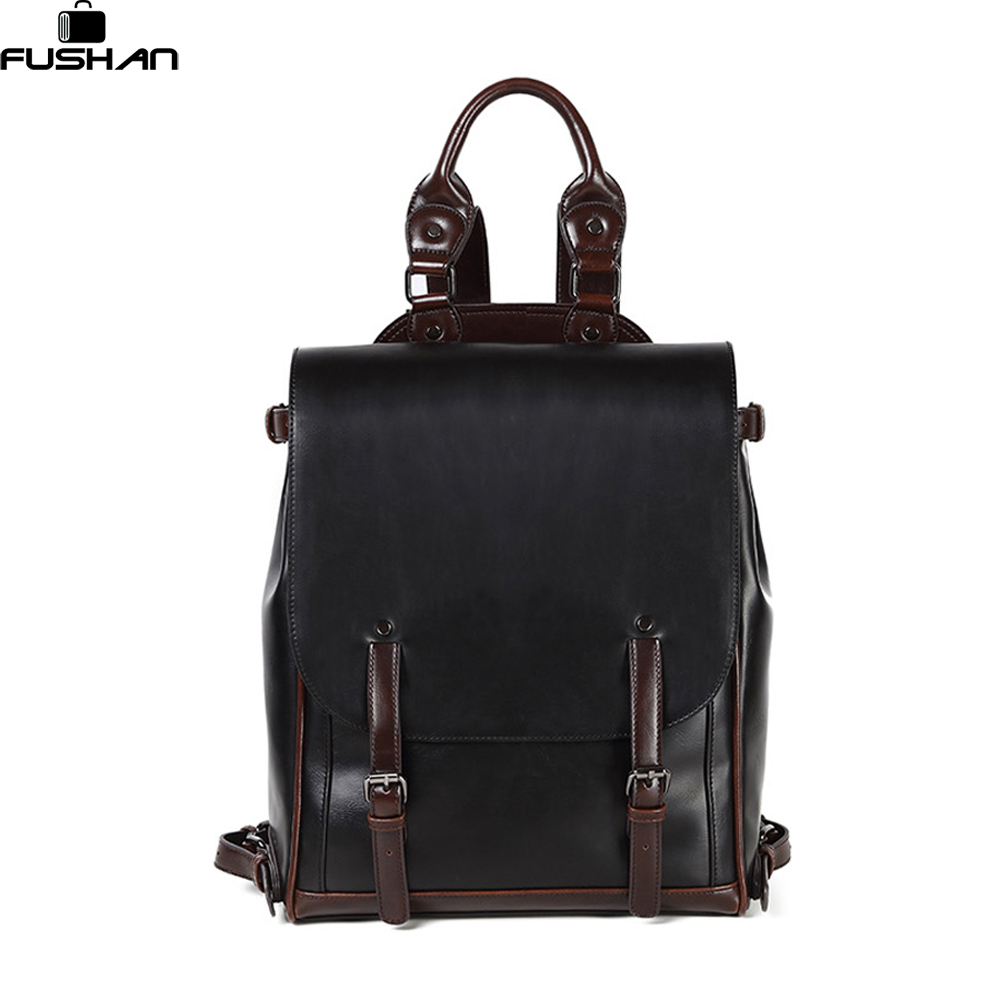 new man backpack leather brand men travel bag high quality casual duffel bag vintage man bag mochila masculina school Laptop bag