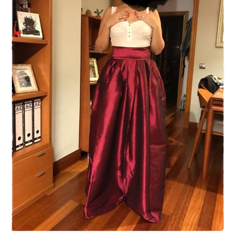f8ce4900adbd6 Maxi long Women Pleated Skirts Black Elegant Party Floor Length Plus Size  5XL 4XL Female Jupe Fashion A line Skirt 116cm -in Skirts from Women s  Clothing on ...