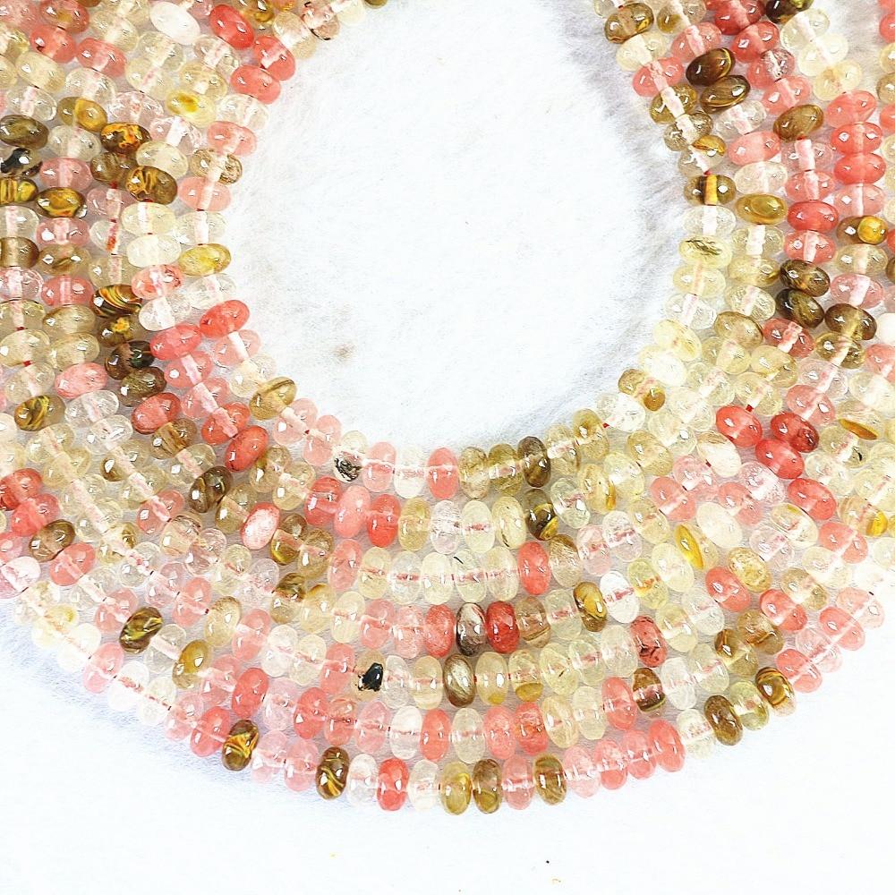 81133557ebbec 5x8mm multicolore pastèque quartz abacus rondelle à facettes bricolage  entretoises accessoires lâche perles pour la fabrication de bijoux 15  pouces MY001