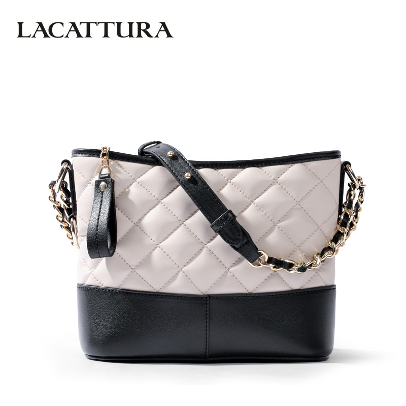 LACATTURA Luxury Women Messenger Bags Designer Leater Handbag Fashion Chain Shoulder Bucket Bag Clutch Lady Crossbody for Women lacattura luxury handbag chain shoulder bags small clutch designer women leather crossbody bag girls messenger retro saddle bag