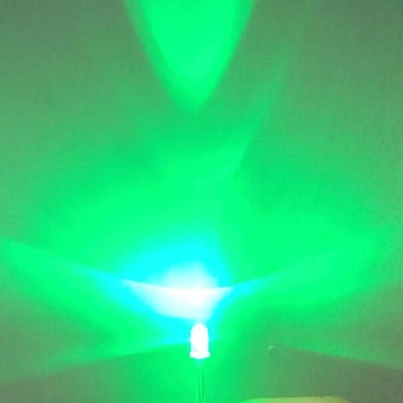 100PCS 5mm LED Diodes Flashing Jade green Clear Blinking Light Emitting Diodes Brightness Flash Blink 5mm