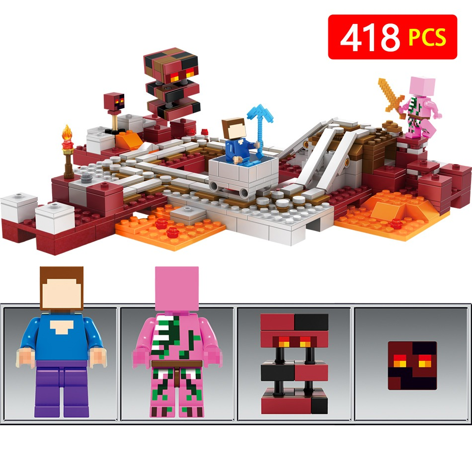 Model Building Toys Hobbies Compatible With Lego Blocks My Worlds 21124 Minecraft The End Portal Technic Legoinglys Minecrafter New Hell Express Railway Nether World Educational For Children