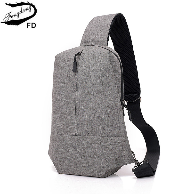 FengDong men anti theft small crossbody travel bag waterproof one shoulder chest bag pac ...