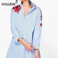 VOGUE! N New Womens Listrado Imprimir Floral Patch Bordado Camisa com Botões Blusa Tops Tamanho SML Atacado
