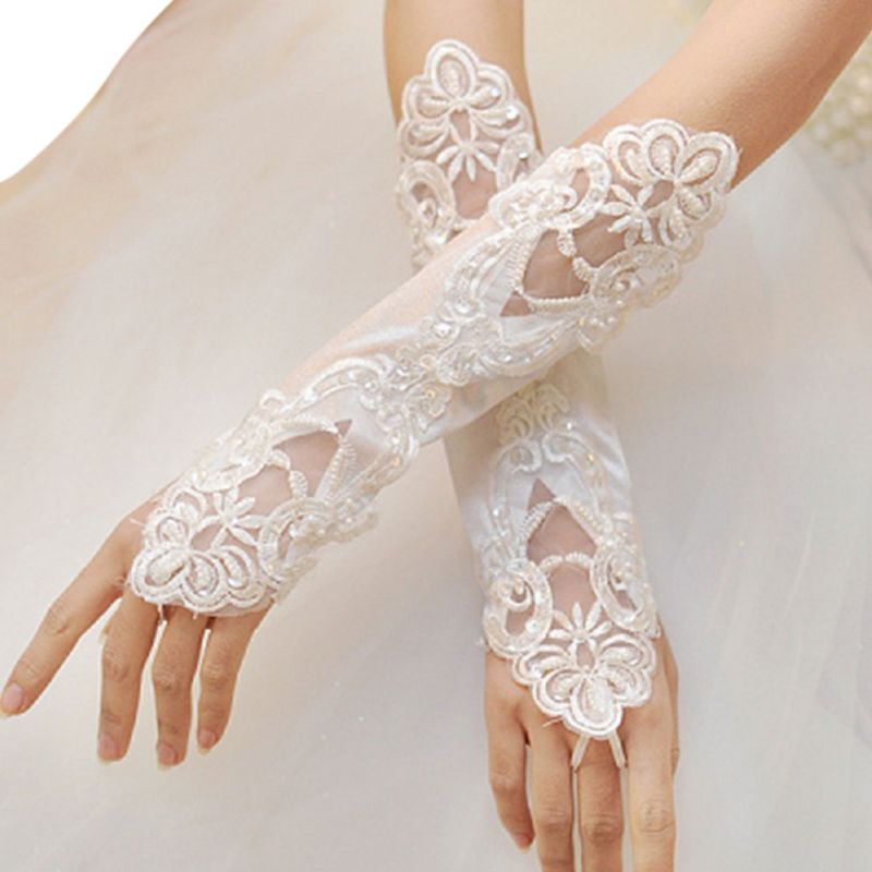 1 Pair Women Bridal Long Gloves Opera Fingerless Embroidery Lace Glitter Sequins Solid Color Elbow Length Mittens Hook Finger
