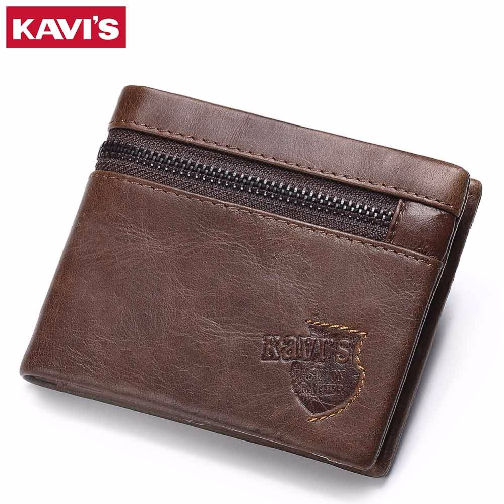 KAVIS Brand Crazy Horse Genuine Leather Wallet Men Wallets Coin Purse with Card Holder Mini Male with Bag Portomonee Small Walet crazy horse leather billfolds wallet card holder leather card case for men 8056r 1