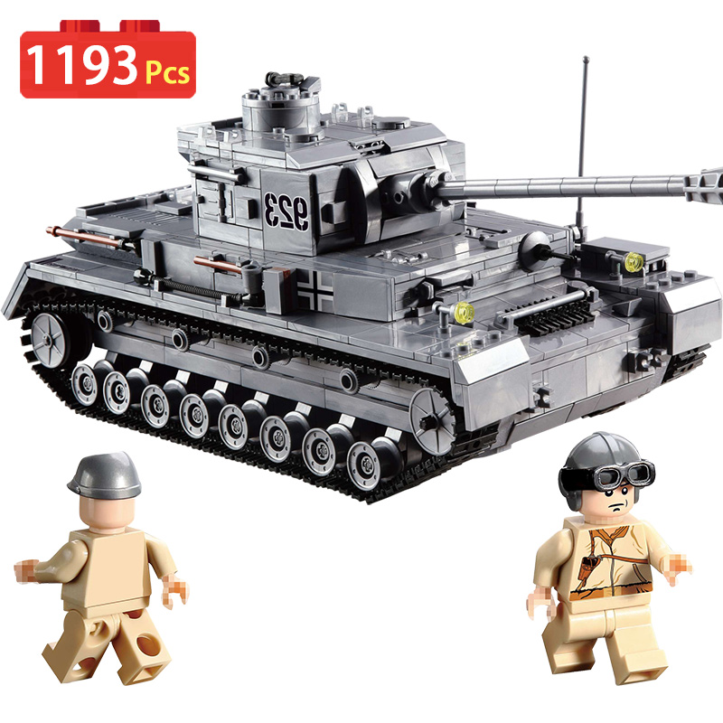 1193pcs Large Panzer IV The tiger Tank Building Blocks Kit Military Army Toy Tank Models Compatible legoingly Toy For Children mylb large panzer iv tank 1193pcs building blocks military army constructor set educational toys for children dropshipping