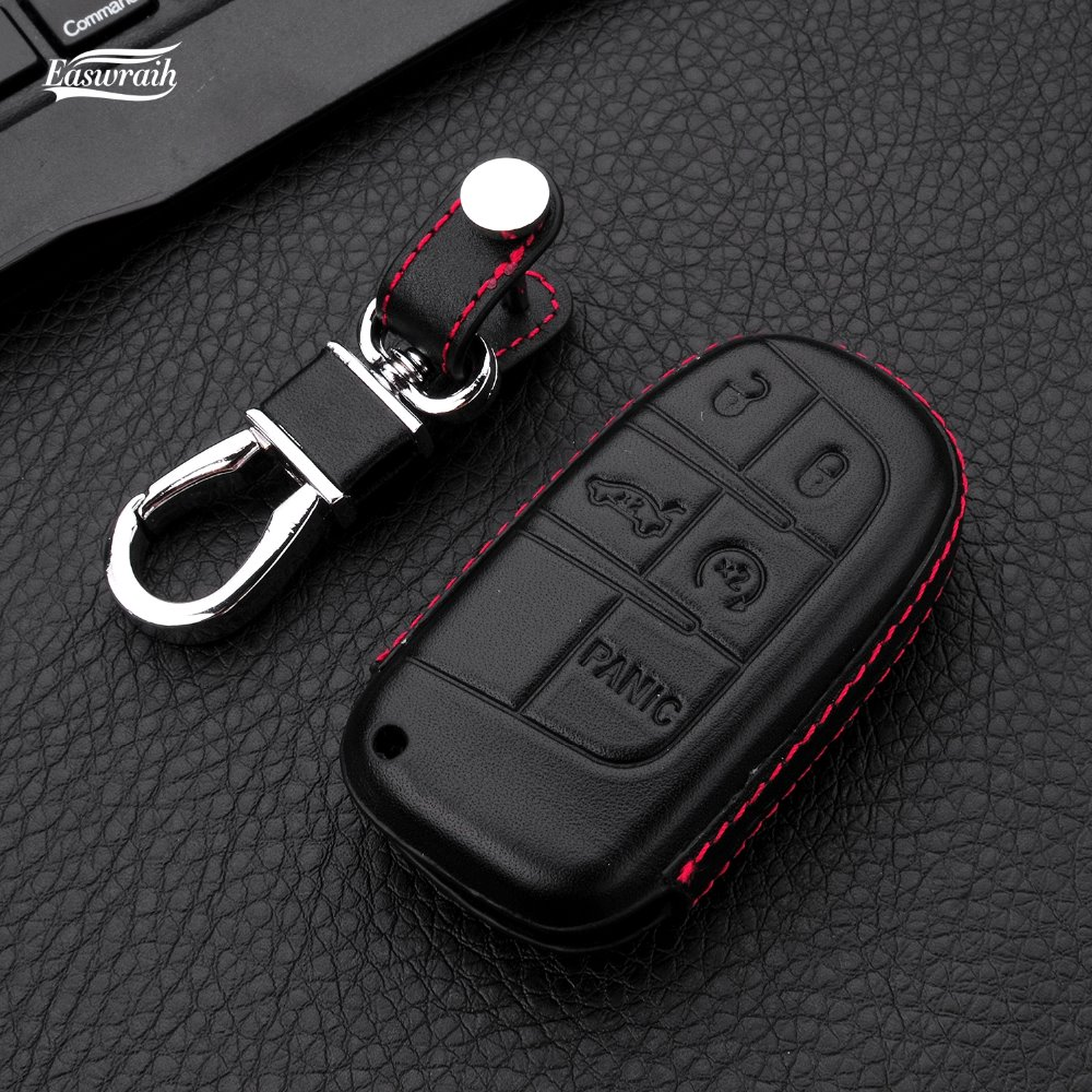 4D Couro Genuíno Caso Chave do carro Titular Para Renegado Jeep Compass Patriot Grand Cherokee Dodge Journey Chrysler 300C 4 Botão