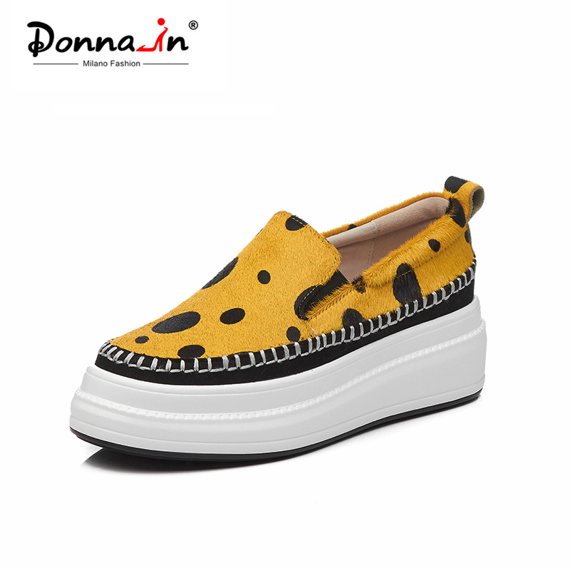 Donna in Womens Loafers Shoes 2019 Creepers Platform Flats Genuine Leather Casual Shoes Women Fashion Comfortable