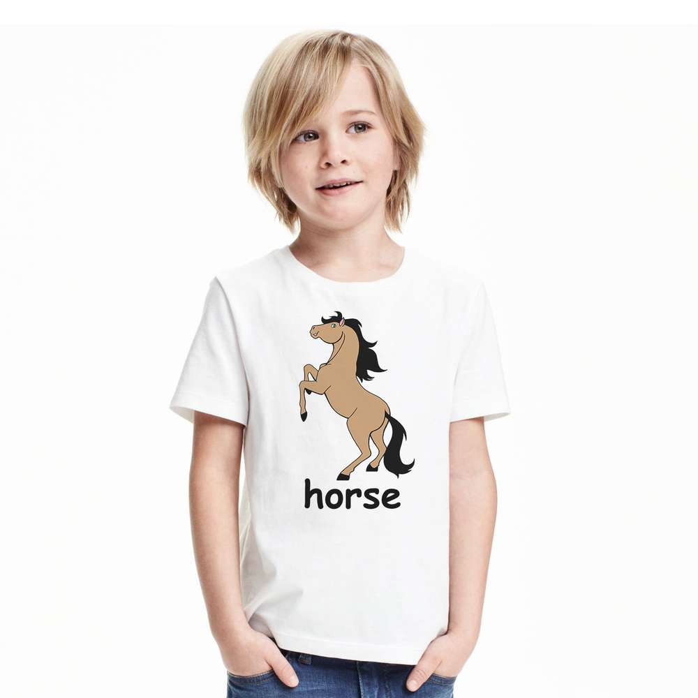2017 Kids Clothes Children T-shirt Horse Print Cotton short Sleeve boys animal print T Shirts Baby Tops 1T-6T toddlers tees