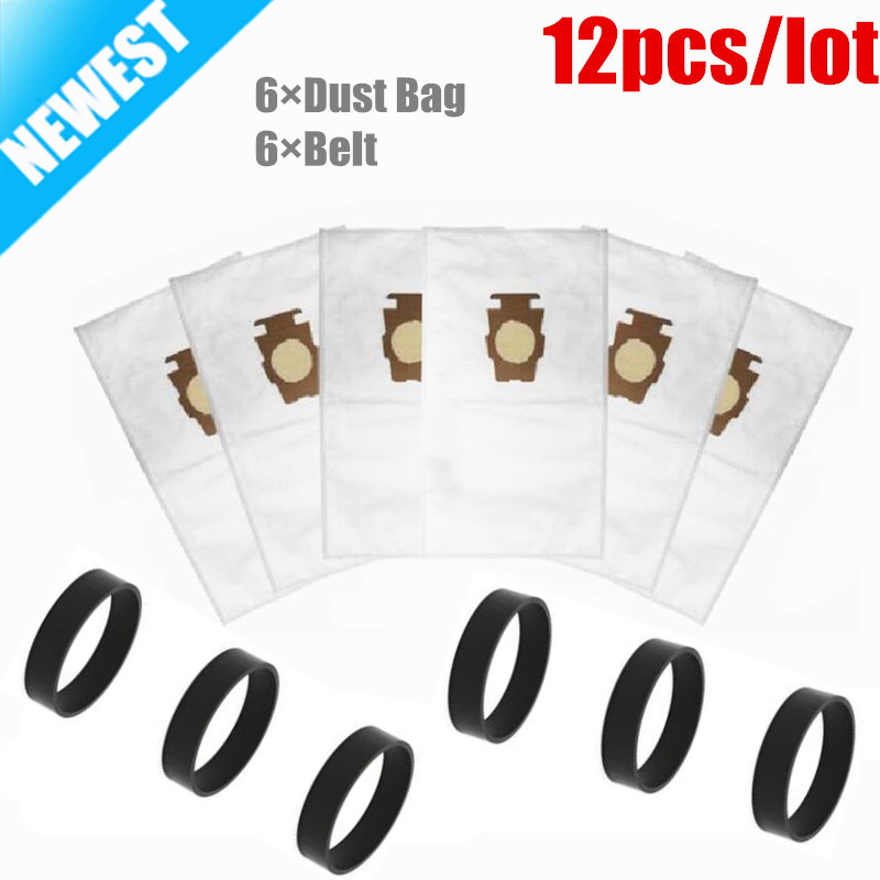 6pcs F Style Sentria Universal Vacuum Bags+ 6 Belts for KIRBY Micron Magic Hepa White Cloth Sentria Models Part #20481,204811 1 pcs for kirby sentrial f t dust bag for kirby universal bag suitable for kirby universal hepa cloth microfiber dust bags