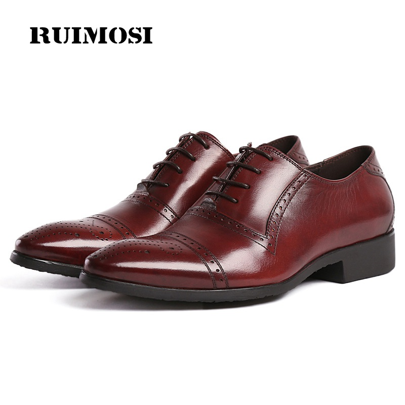 RUIMOSI New Semi Brogue Man Cap Top Shoes Genuine Leather Male Bridal Oxfords Pointed Toe Men's Dress Flats For Wedding BH20