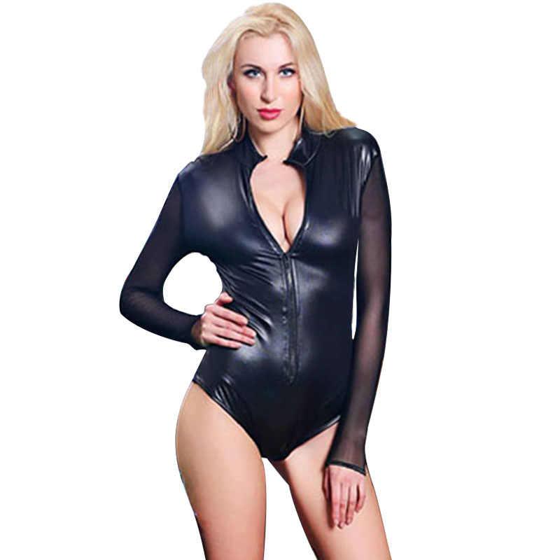 eada1dbb14f ... Plus Size Sexy Black Vinyl Catsuit Lingerie Mesh Long Sleeve Zipper  Front Erotic Leotard Wet Look ...