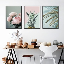 Nordic Poster Pink Flower Green Blue Leaf Art Wall Pictures for Living Room Modern Home Decoration Pineapple Canvas Painting