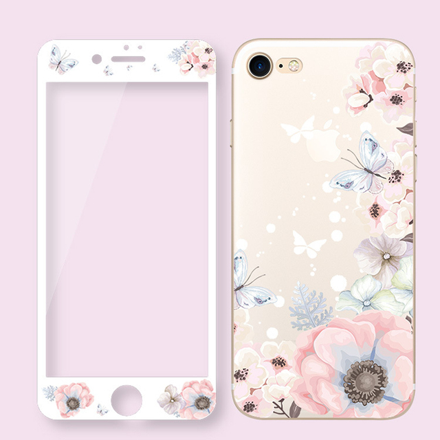 Protector de pantalla de vidrio templado de flores para iPhone 7 Plus 3D borde curvado de dibujos animados Floral fundas de teléfono para iPhone 6 6 s Plus 8 SG72