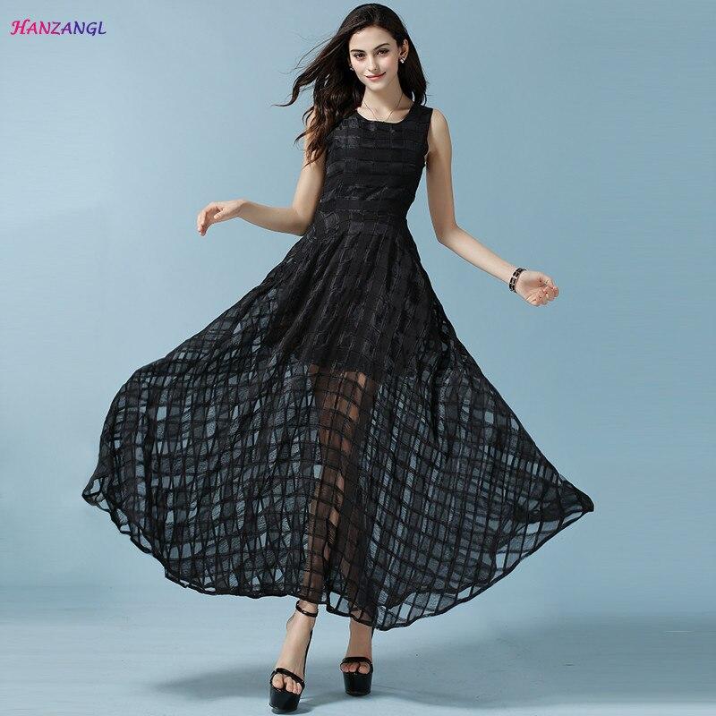 HANZANGL 2019 créateur de mode femmes robe d'été sans manches Organza robe de plage longue Maxi robe Vintage grande balançoire robes