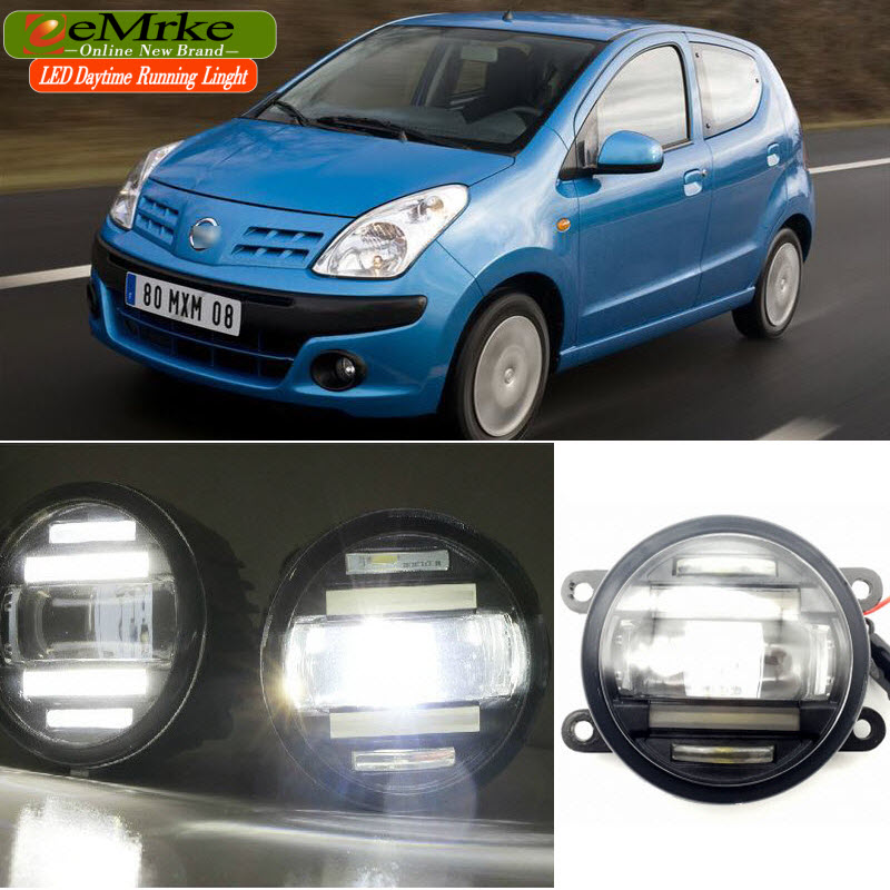 EEMRKE Car Styling for Nissan Pixo UA0 2009 2 in 1 Double LED DRL Cut-line Lens Fog Lights Daytime Running Lights eemrke car styling for opel zafira opc 2005 2011 2 in 1 led fog light lamp drl with lens daytime running lights
