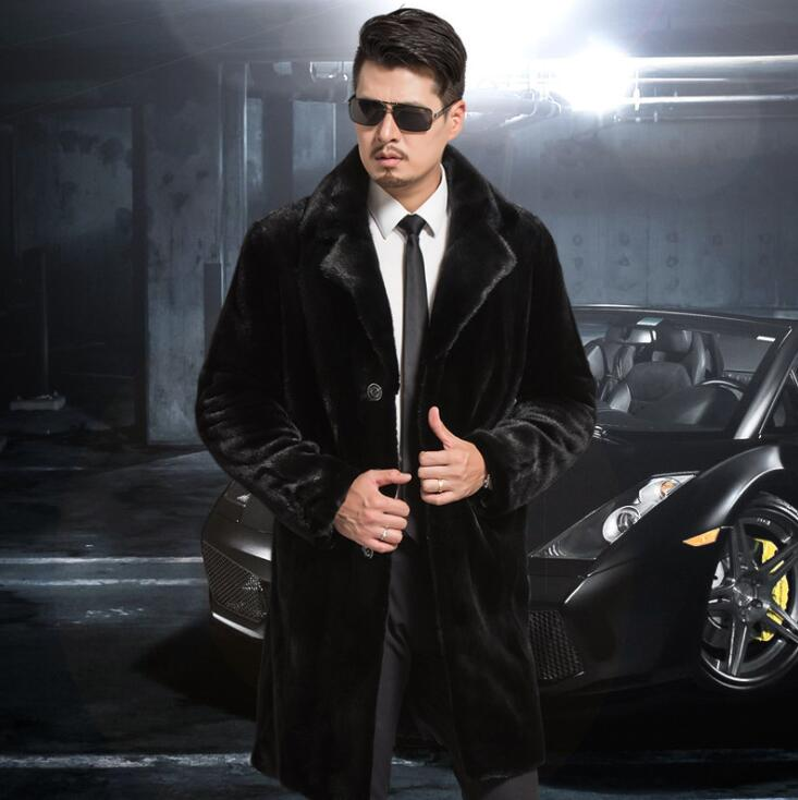 Autumn faux mink leather jacket mens winter thicken warm fur leather coat men Single breasted jackets jaqueta de couro fashion in Faux Leather Coats from Men 39 s Clothing