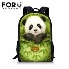 FORUDESIGNS Kawaii Panda Printing School Bag for Teenager Girls Cute Schoolbag Children Daypack Student Function Book