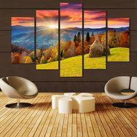 5 פנלים הרי נוף בד ציור קיר ציורי דקור אמנות מודרנית תמונה עץ יער הדפסי בד יצירות אמנות דקור