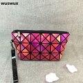 WUSWUX новая мода лазерная пу макияж мешок алмазов геометрические складные женщины путешествия косметический мешок устроителя макияж случай сцепления 7 цветов
