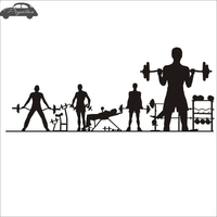 Pegatina Car Gym Sticker Fitness Crossfit Barbell Decal Body building Posters Vinyl Wall Decals Parede Decor Mural Gym Sticker