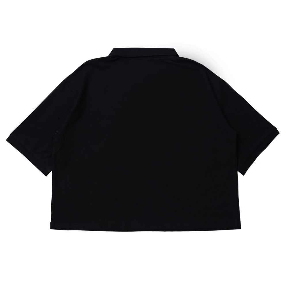 Bebobson女性ポロシャツ綿かわいい女の子刺繍半袖レディース黒ポロシャツトップス緩いプレッピースタイル