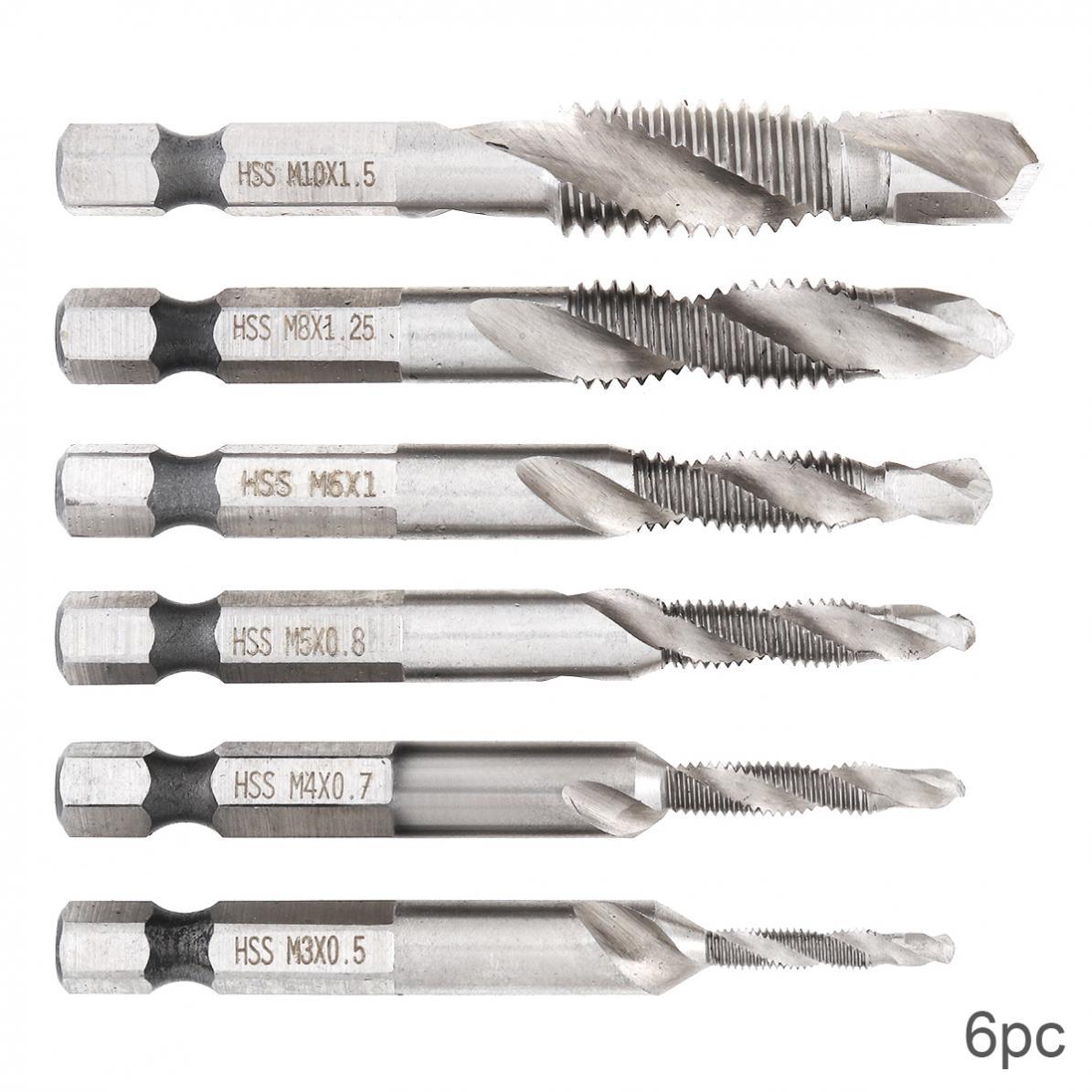 6 Pcs / Set High Speed Steel Drill Bits Hex Shank HSS Screw Bit Screw Point Metric Thread Male Drill Fit For Drill Bit