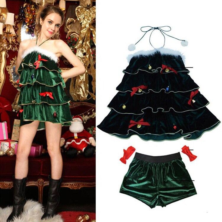 New Green Christmas Tree Dress Princess Dress Bar Singer Show DS Santa Party Dress Uniform