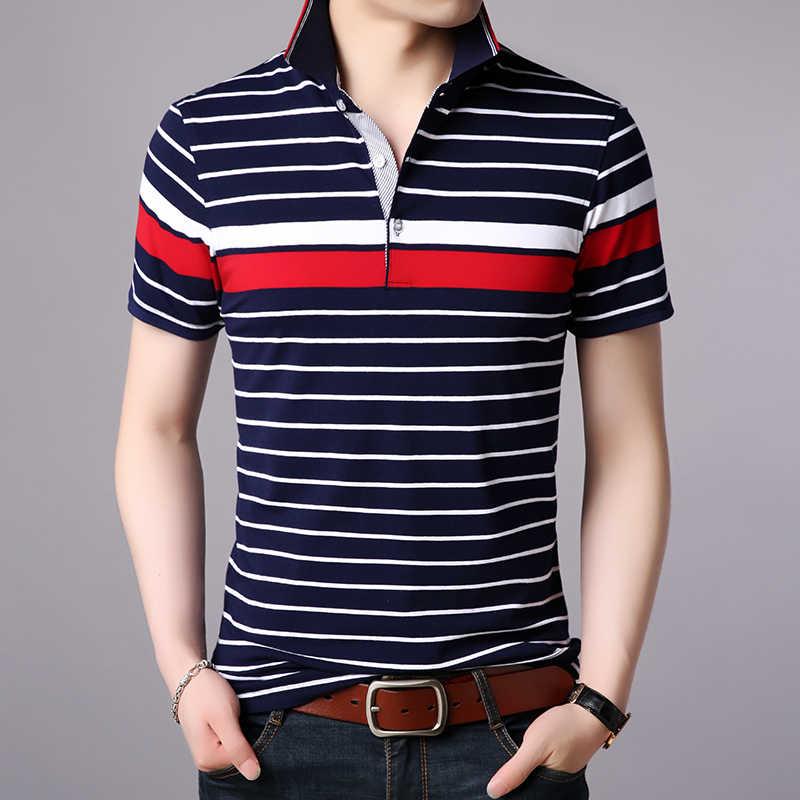 2020 nowa marka modowa odzież Polo koszule męskie top w paski klasy lato Slim Fit bawełny z krótkim rękawem chłopców dorywczo mężczyzn ubrania
