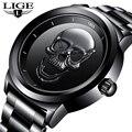 Мужские часы LIGE с 3D черепом, Лидирующий бренд, кварцевые часы из нержавеющей стали, мужские Модные Бизнес водонепроницаемые креативные часы...