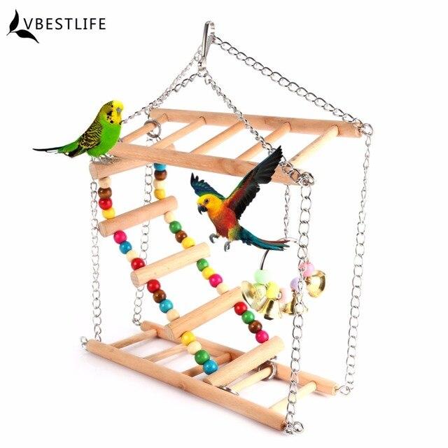 Parrots Toys Bird Swing Exercise Climbing Hanging Ladder Bridge Wooden Rainbow Pet Parrot Macaw Hammock Bird Toy With Bells A46