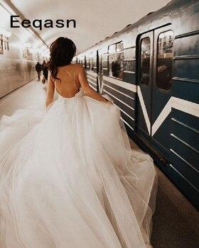 New Boho Wedding Dress 2020 Elegant Tulle A-Line Sexy Backless Beach Bride Dress Sexy Court Train White Wedding Gown Cheap