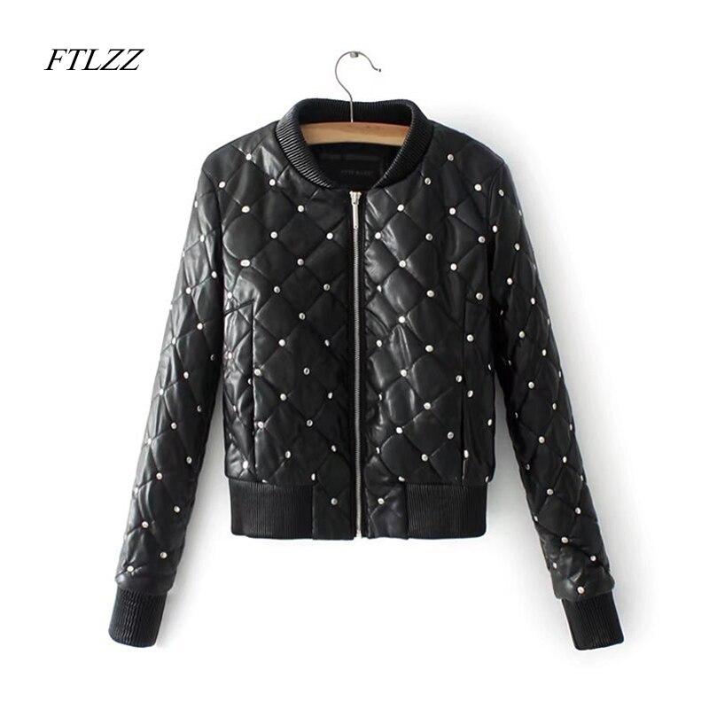 Women Pu Leather Jacket Coat 2018 Autumn Spring Fashion Cool Rivets Zipper Streetwear Female Warm Cotton