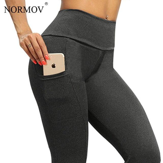 NORMOV Women Leggings Plus Size Solid Color High Waist Pocket Legging Leisure Workout Push Up Fitness Legings