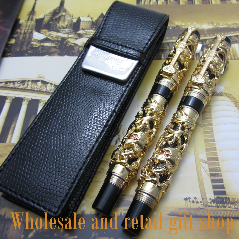 2pcs pen Jinhao Dragon Phoenix Heavy Gold Chinese Classical Luck Clip and pen bag free shipping advanced roller ball pen jinhao chinese dragon bronze white with black heavy gife pen