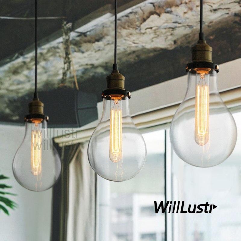 TEARDROP CLEAR GLASS FILAMENT SINGLE PENDANT lamp hanging lighting water drop transparent Vintage bulb loft Bar suspension Light