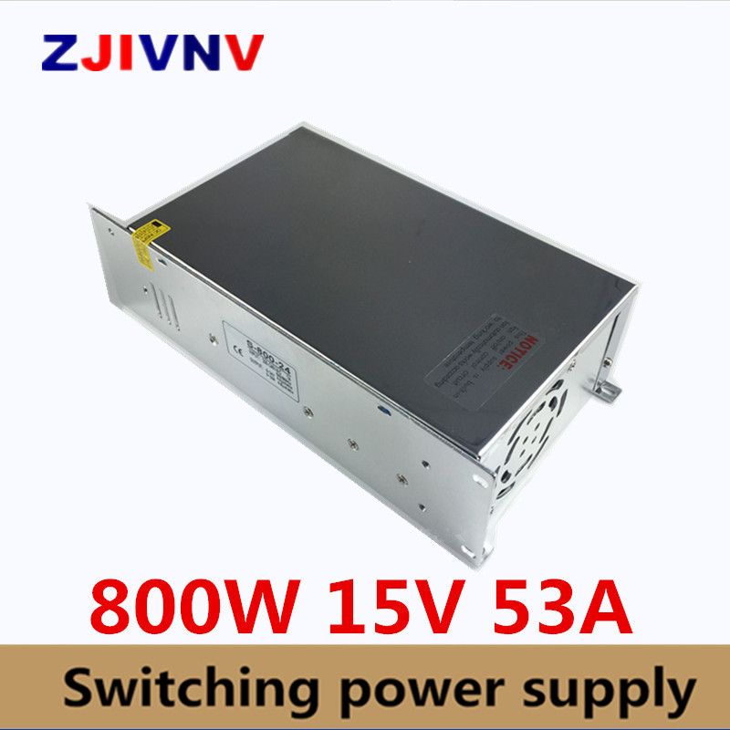S-800-15 Switching power supply 15v 800w ac to dc converter led driver 110V 220V SMPS For led strip display cctv and 3d printer