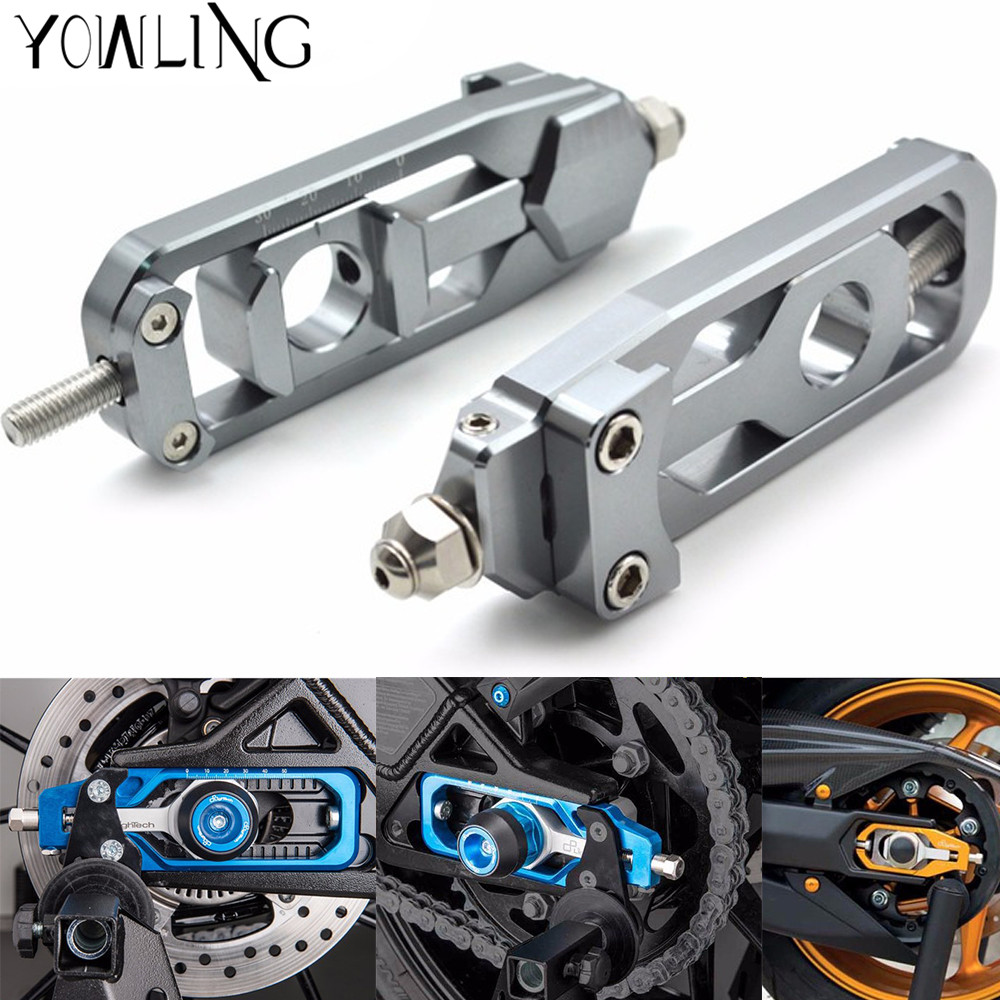 For YAMAHA MT-09 MT09 TRACER FZ-09 FJ-09 FZ MT 09 Motorcycle Chain Adjusters Tensioners Catena rear axle spindle chain adjuster for yamaha fz 09 mt 09 fj 09 mt09 tracer 2014 2016 motorcycle integrated led tail light brake turn signal blinker lamp smoke